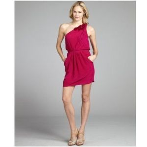 Rebecca Taylor Silk One Shoulder Magenta Dress